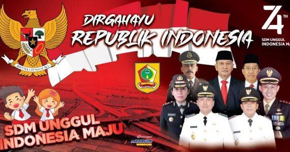 Sambutan Bupati Wonogiri pada upacara bendera peringatan HUT ke 74 Proklamasi Kemerdekaan Republik Indonesia, Sabtu 17 Agustus 2019